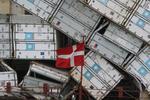 Containerschaden (Havarie, Havarei, damage) - Container auf der JEPPESEN MAERSK sind im Sturm umgestürzt
