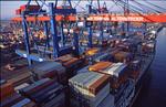 Containerschiff, Containerverladung am CTA Container Terminal Altenwerder Hamburg vom Ausleger der Containerbrücke aus