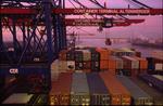 Containerschiff, Containerbrücke, Containerumschlag am CTA im Abendlicht vor der Köhlbrandbrücke und abziehendem Nebel