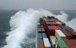 Containerschiff, Vorschiff im Sturm