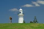 Leuchtturm an der Küste bei Sydney und Landvermesser