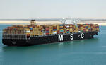 Großcontainerschiff (Großschiff) MSC FLAVIA im Großen Bittersee (Suezkanal)