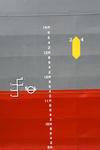 Tiefgangsmarken, Ahming (Skala) und Freibordmarke (Plimsoll-Marke) und Lademarke