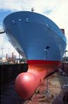 Bug und Bulb eines Containerschiffs im Dock von Blohm + Voss Repair