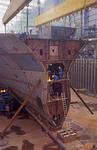 Schweissarbeiten am Vorschiff eines Containerschiff-Neubaus auf der Meyer Werft