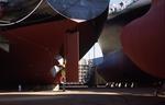Schiffsneubauten in Dock 3 der  Hyundai Heavy Industry Shipyard Ulsan, Südkorea