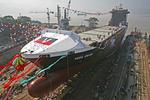 Stapellauf des Containerschiffs auf der Mawei-Werft, Fujian Mawei Shipyard (Fuzhou) in China